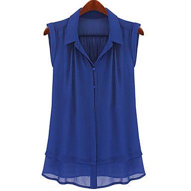Camisa das mulheres blusa de seda sem mangas – BRL R$ 46,72