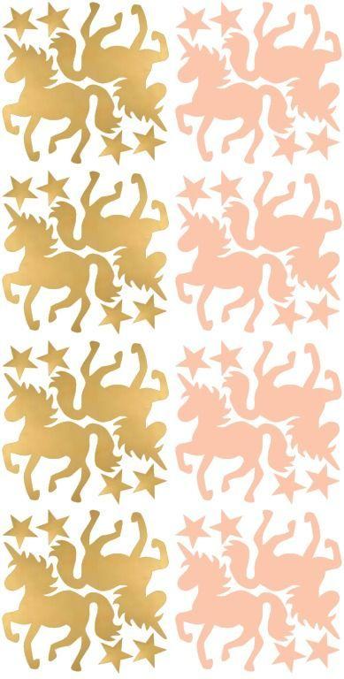 muurstickers unicorn roze goud