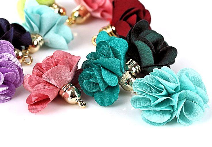 Tassels - Flower Tassel Charms - 10 Assorted, Gold Cap Fabric Tassels - Small, Fluffy Flower Tassels - Satin Tassels For Jewelry - TB-1G01 #tasselsforjewelry #etsy #craftsupply #smallbiz