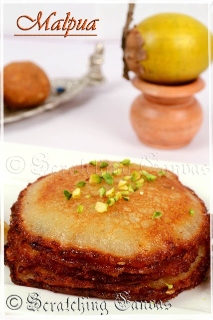 Khoya/ Kheer Malpua on Poush Sankranti: Eggless Sweet Pancake