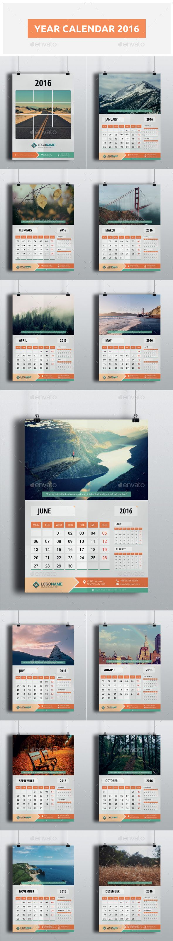 Year Calendar 2016 Template PSD #design Download: http://graphicriver.net/item/year-calendar-2016/13542634?ref=ksioks