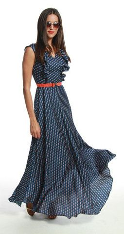 **Eudora dress ~ Liverpool print ~ Ruffles along the bust and flares out at the waist for a full maxi skirt for dramatic movement ~ Eva Franco