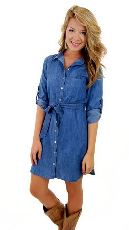 The perfect denim dress! Would look better with a wide belt that matches the cowboy boots. Really... it would look better with a wide red belt, red cowboy boots & a red bandana pulling back my hair. Right?