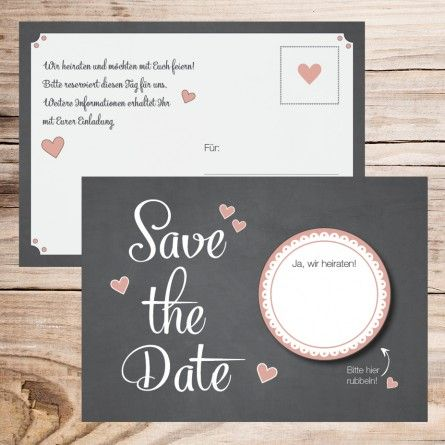 Save the Date Karte - Rubbelsticker (10 Stück)
