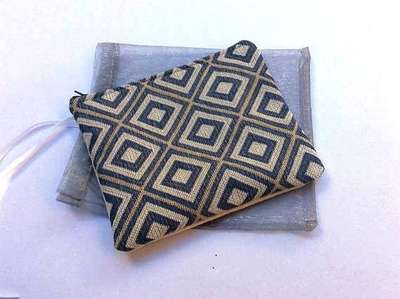 Small  pouch/ clutch slim shape tapestry fabric handmade