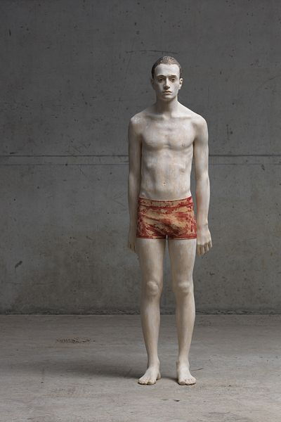 """Bruno Walpoth: """"Isaak"""". He uses simple tools to turn pieces of wood (lime and walnut) into human sculptures."""