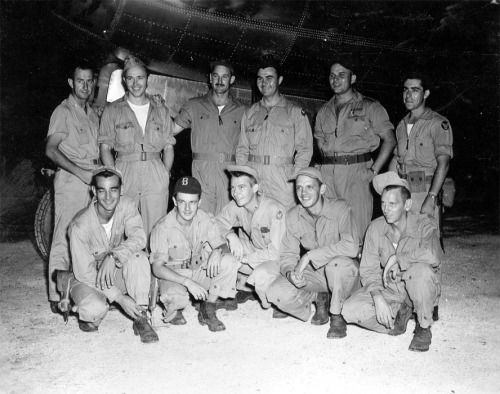 "Crew of the ""Enola Gay"" on Tinian Island - 1945 via reddit"