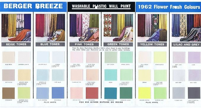 Mid Century Modern Paint Colors 1962 Berger Breeze Jpeg 678 366 Atomic Age Color Palettes And