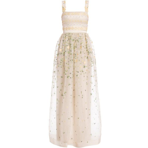 Temperley London Long Primrose Gown (123.630 RUB) ❤ liked on Polyvore featuring dresses, gowns, evening gowns, kleider, long dresses, neutrals, long evening gowns, pink evening gowns, pink evening dress and see through dress