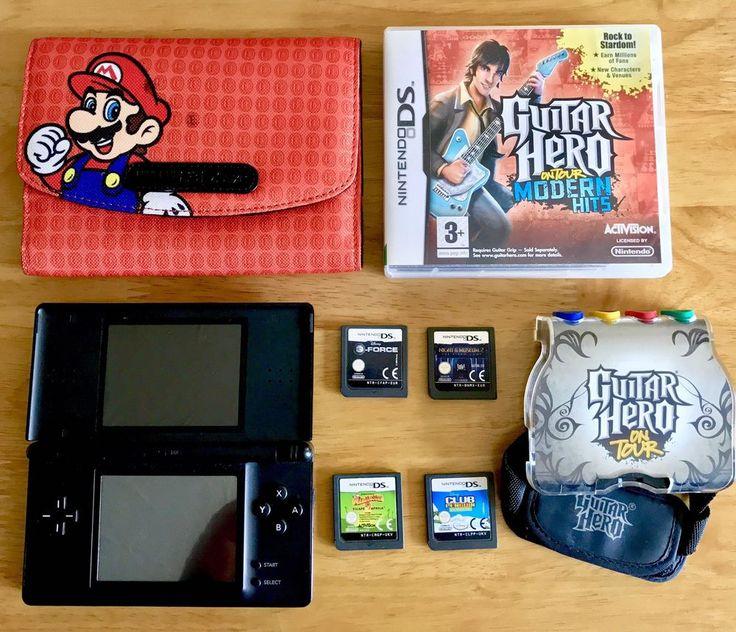 Nintendo Ds Lite Console 5 Games Mario Case Guitar Hero +game Ds Bundle