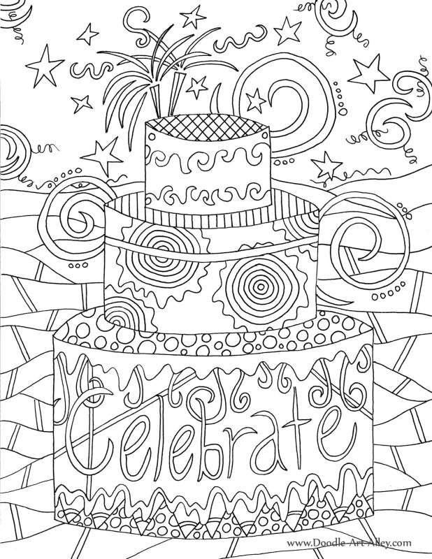 birthday coloring pages for adults - photo#9