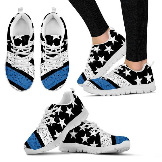 Measure your feet, and use the sizing chart to determine the correct size! Honor the police officers in your life with these Thin Blue Line Sneakers! Now only $