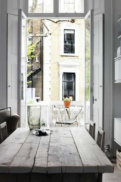 Obviously I love rustic farmhouse tables, large windows and French doors! :)