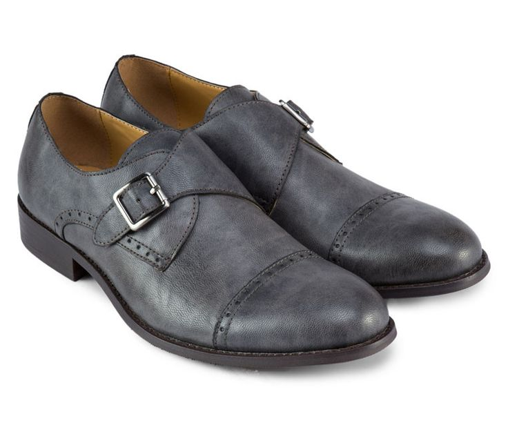 Gray Faux Leather Buckle Dress Shoes by Zalora. Gray shoes with single buckle, almond toe, stitching details, classic style dress shoes, perfect for formal occasions, pair it with grey work pants and tartan shirt pattern. http://www.zocko.com/z/JI3No