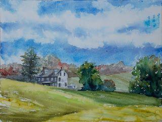 Farmhouse at Winterthur, 9x12 #pleinair #watercolor #painting $195. #art