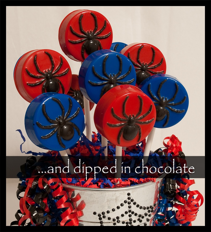 """""""Spider-Man"""" Chocolate covered oreo cookie pops"""