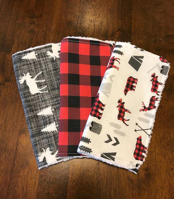 Woodland burp cloths / deer moose and bears / red and black