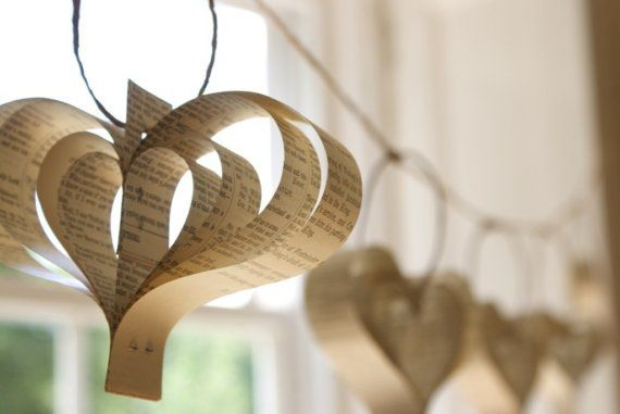 Paper heart garland from Bookity on Etsy