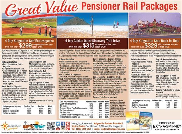 Pensioner Rail Packages - Kalgoorlie Boulder Pure Gold Visitors Centre