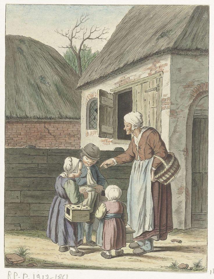 Boerin stuurt haar kinderen naar school, Christina Chalon, 1758 - 1808