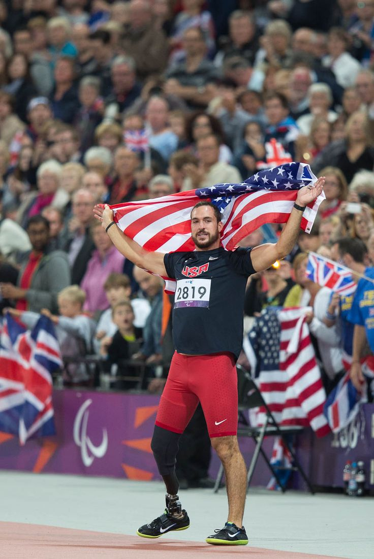 U.S. Paralympic athlete Jeremy Campbell celebrates at the 2012 Paralympic Games in London after winning the gold medal in the Men's F44 Discus Throw. Campbell trains at the University of Central Oklahoma, an official U.S. Olympic and Paralympic Training Site. (Photo credit: Joe Kusumoto)