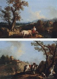 An Italianate landscape with a huntsman resting by a stream by Francesco Zuccarelli