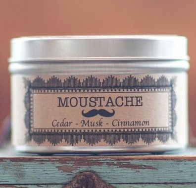 Salt Spring Island Candle Company - British Columbia, Canda--- This is the Magnum PI of candles. It's evocative of moustache wax, aviator shades and all kinds of masculine cool. This candle is everything a hipster candle should be. Scents reminiscent of a spectacularly grown moustache with none of the old left-over soup trapped in your 'stache smell. For moustache wearers and lovers alike. Please burn responsibly.