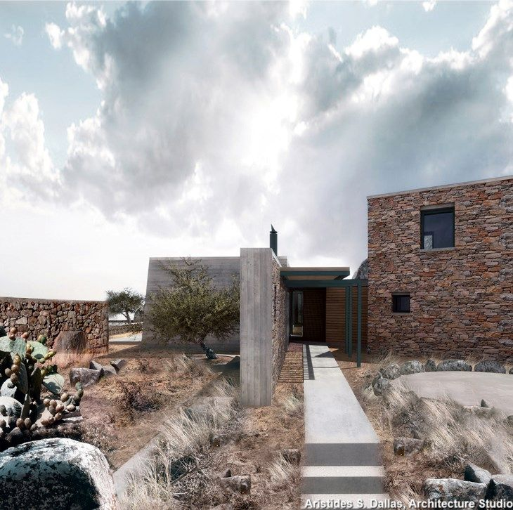 Αριστείδης Ντάλας- Κατοικια μεταξύ βράχων , Βωλάξ Τήνος
