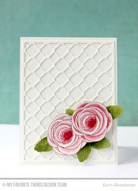 handmade card ..  Symmetry / Asymmetry ... tone on tone white die cut grid ... pair of pink flowers popped up in the corner ... sweet look ..