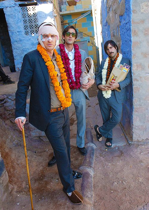 Good grief these gents are a bunch of studs. Owen Wilson, Adrien Brody, and Jason Schwartzman on Wes Anderson's The Darjeeling Limited.