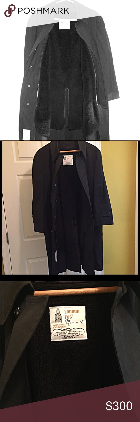 London Fog Mens Raincoat London Fog Mens Raincoat  Color Black  Size 44-Short  Has a removable lining that is to be used according to the weather - either rainy or cold or both!!  Can be used all-seasons!  Used only once - excellent condition!  *Has a couple of small marks on both sides of the inside of the collar. See picture #4. They do not show from the outside. I believe the marks are from the raincoat being hung on a hanger for a longtime w/o being used & maybe a little dusty. There is…