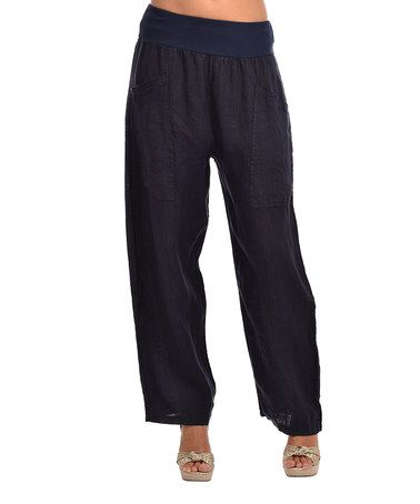 Look what I found on #zulily! Navy Blue Anna Linen Pants - Plus Too #zulilyfinds