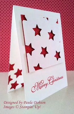 handmade Christmas card from Stampinantics ... white and red .. graphic look .. negative cut stars reveal red glitter paper backing ... luv it! ...Stampin' Up!