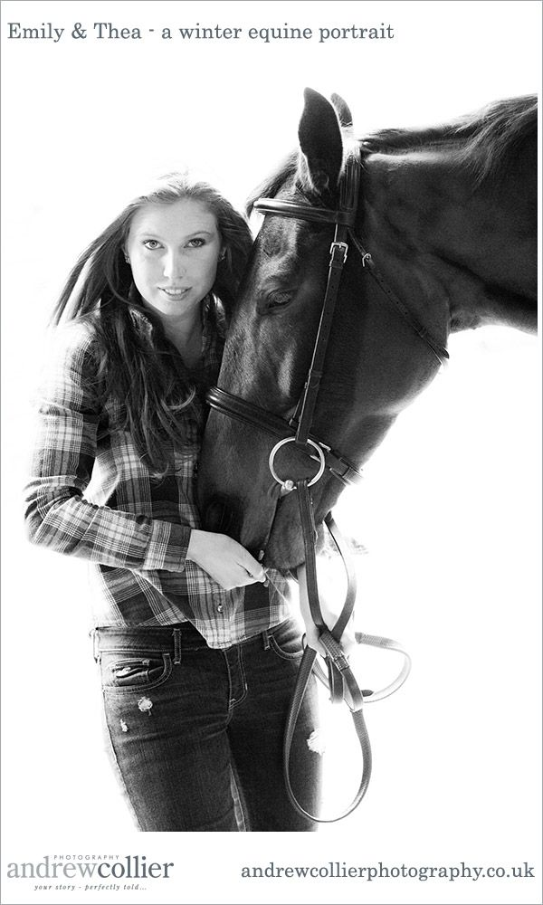 A winter equine portrait session in Holmes Chapel with Emily and her horse Thea