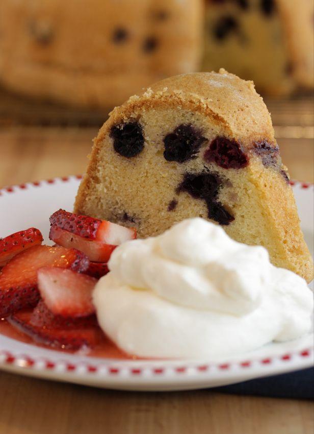 Alton Brown's Blueberry Pound Cake Recipe Here: http://altonbrown.com/blueberry-pound-cake-recipe/