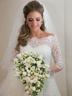 A-Linie/Princess-Stil Carmen-Ausschnitt Spitze Organza Brautkleider Mit Lange Ärmel