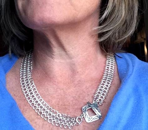 "Thought I would post a picture of me wearing this 4-in-1 European weave Chainmail necklace. I was ""modelling"" this necklace for a picture sent to a customer in Kitchener who is now the owner of this Sterling Silver beauty!! If you have any custom requests, please send me a message as I don't have all of my pieces listed. Thanks & happy Wednesday!!  SheilaBycraftJewellery"