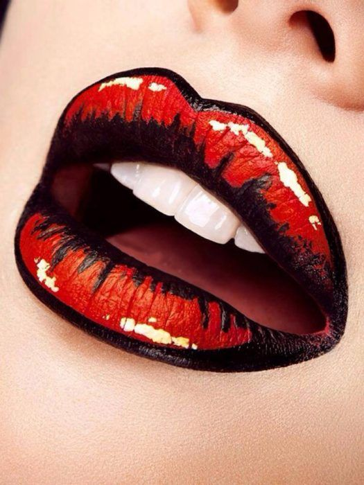 Diseño de labios para halloween como una historieta