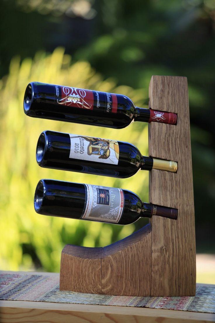 The tower 3 bottle barrel stave wine rack estantes de - Botellero de madera para vino ...