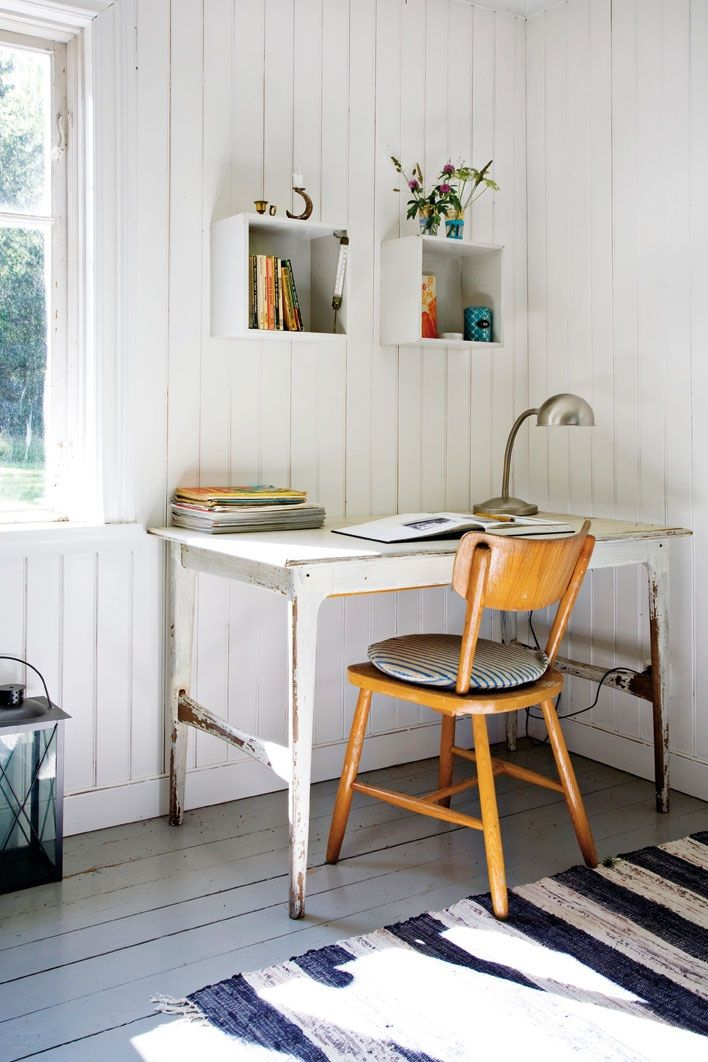 Sunlight spilling across a navy and white rag rug.  Wouldn't you want to write here?