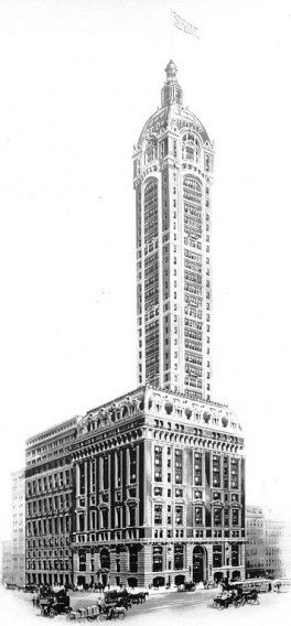 The Singer Building in lower Manhattan was completed in 1908 and served as the headquarters of the Singer Manufacturing Company. It was demolished in 1968.