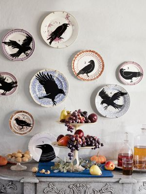 Stenciled Bird Plates    Serve up a daring display with this novel idea for old plates. Download, print, and cut out our templates below; then trace the outlines