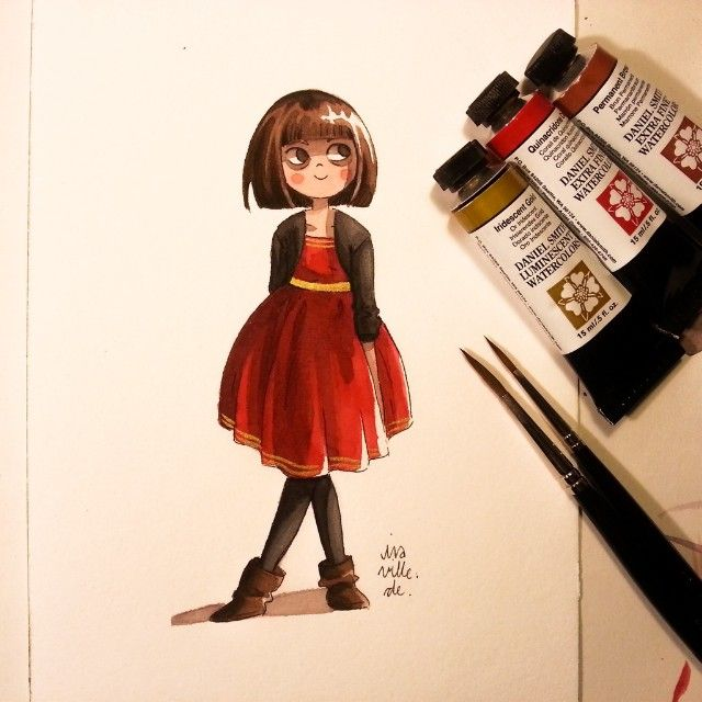 Fine Little Girl With A Bit Gold Watercolor Watercolour Watercolors Drawing