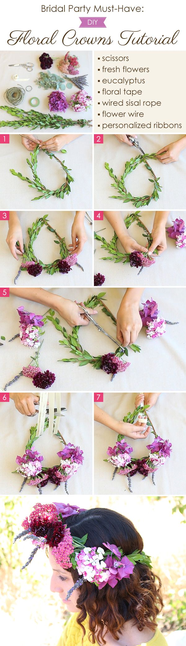 81 best diy flower crown images on pinterest floral crowns bridal party must have diy flower crowns tutorial by home sweet flowers izmirmasajfo Image collections