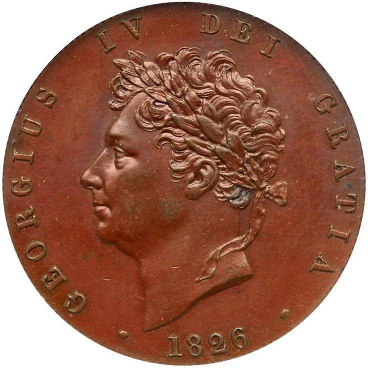 George IV (1820-30), Proof bronzed copper Halfpenny, 1826 George IV (1820-30), Proof bronzed copper Halfpenny, 1826. Laureate head left, date below, Latin legend and toothed border surrounding, GEORGIUS IV DEI GRATIA rev. struck en medaille, Britannia seated right with trident and shield, raised line on arms of saltire cross, emblems in exergue, Latin legend and toothed border surrounding, BRITANNIAR: REX FID: DEF: (Peck 1437 reverse B; S 3824; KM 692a). Toned practically as struck, dark…