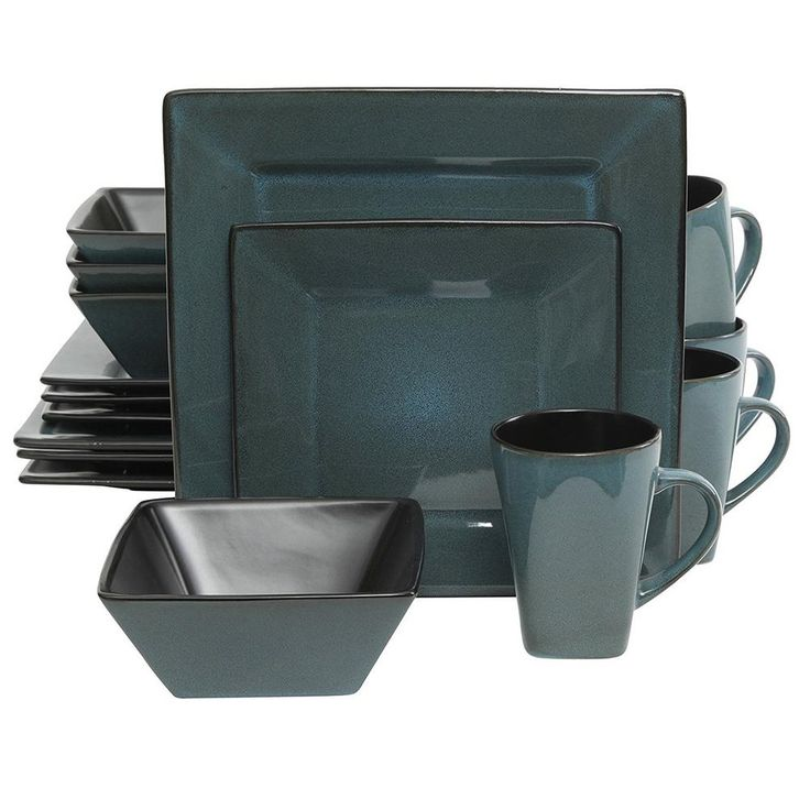 Kiesling 16-Piece Blue and Black Dinnerware Set