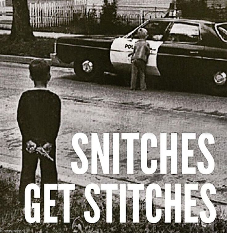 Snitches get Stitches Stretched Canvas Wall Art Poster Print Gangster Children
