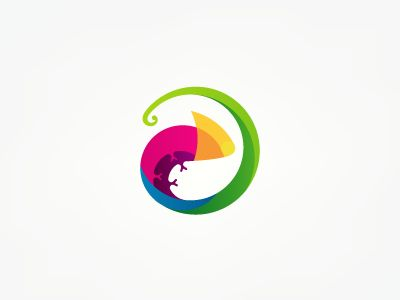 A cute chameleon design. The color works well with the concept because chameleons are able to adapt and change colors depending on their surroundings. If used in a logo, the chameleon may also represent the company's flexibility and adaptation to change.