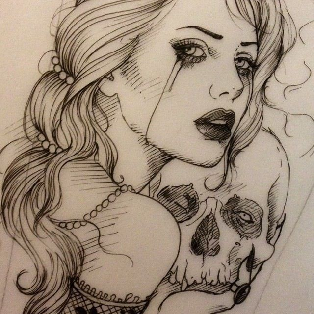 Woman with skull tattoo