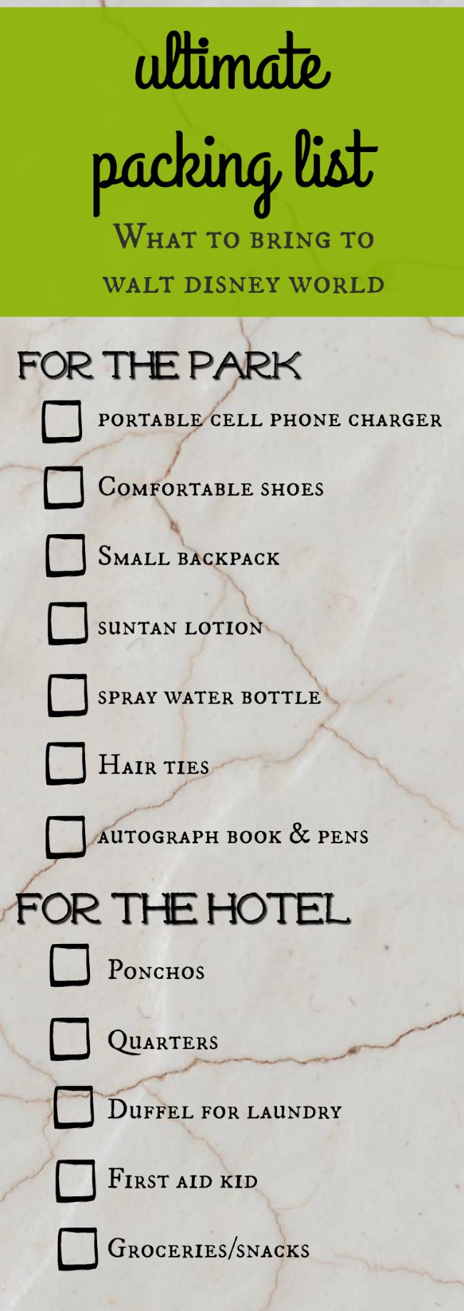Disney World Packing List - all the extras you wouldn't think to bring!